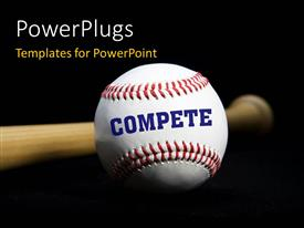 PowerPlugs: PowerPoint template with a baseball bat and a ball with blackish background and place for text