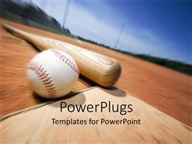 PowerPoint template displaying a baseball and a bat with blurred background