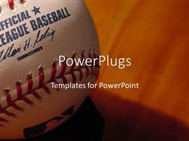 PowerPlugs: PowerPoint template with a baseball in a closeup with brownish background