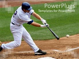 PowerPlugs: PowerPoint template with a baseball  player hitting the ball with full force