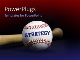 PowerPoint template displaying baseball with text STRATEGY written with baseball bat
