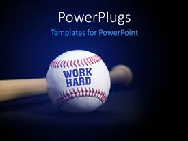 PowerPlugs: PowerPoint template with baseball with text WORK HARD over blue and black background