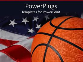 PowerPlugs: PowerPoint template with a basket ball with American flag in the background