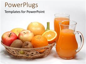 PowerPlugs: PowerPoint template with basket of kiwis, orange and apple fruit with pitcher of juice and glass, nutrition