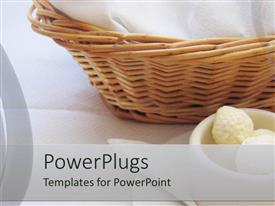 PowerPoint template displaying basket with towels and mug displayed on white background