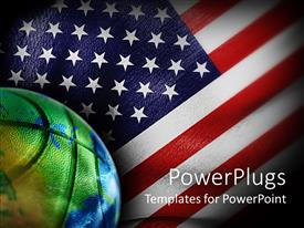 PowerPoint template displaying basketball with Earth globe painting, American flag, sports