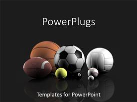 PowerPoint template displaying basketball, football, tennis, volleyball, golf, pool and baseball sports balls on black background