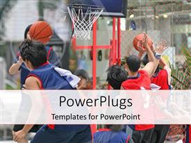 PowerPlugs: PowerPoint template with a basketball match going on with net in the background