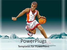 PowerPlugs: PowerPoint template with a basketball player with bluish background