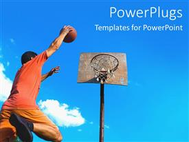 PowerPlugs: PowerPoint template with a basketball [player dunking with clouds in the background