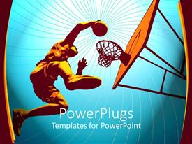 PowerPlugs: PowerPoint template with basketball player rises high to slam in the basket