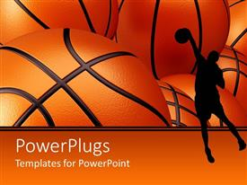 PowerPlugs: PowerPoint template with basketball player shadow against basketballs background