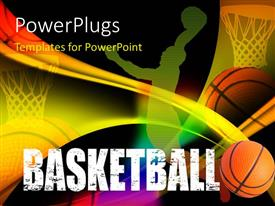 PowerPlugs: PowerPoint template with a basketball player's representation with blackish background