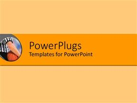 PowerPlugs: PowerPoint template with basketball referee holding ball under arm on beige and orange background