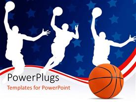 PowerPlugs: PowerPoint template with basketball with silhouette of basket players on abstract background with stars