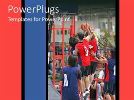 PowerPlugs: PowerPoint template with a basketball team trying to score against the opponents