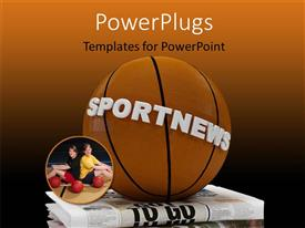 PowerPlugs: PowerPoint template with a basketball with a text that spells out the word 'Sportnews '