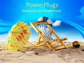 PowerPlugs: PowerPoint template with beach with a beach ball, chair, and yellow umbrella