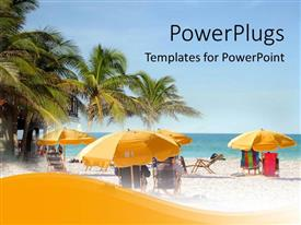 PowerPlugs: PowerPoint template with beach chairs, umbrellas, palm trees by ocean