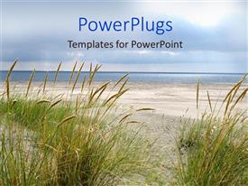 PowerPlugs: PowerPoint template with the beach display with the ocean, the sand and the greenery