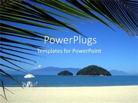PowerPlugs: PowerPoint template with beach landscape with table, chairs and umbrella, palm fronds, islands, vacation, holiday, tropical paradise
