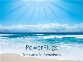 PowerPoint template displaying beach and sea with light blue sky and depiction of sun with large rays