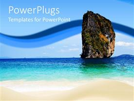 PowerPoint template displaying beach setting with a mountain and blue sky