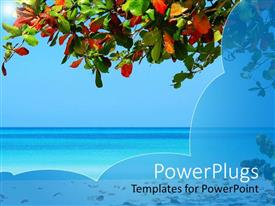 PowerPoint template displaying beach setting with tree branch, colored tree leaves, sand and ocean water