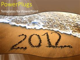 PowerPlugs: PowerPoint template with a beach shore with a text that spells out the word '2012 '