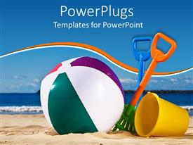 PowerPlugs: PowerPoint template with beach toys with beach ball, spade and yellow beach bucket on sand with sea and blue sky in the background