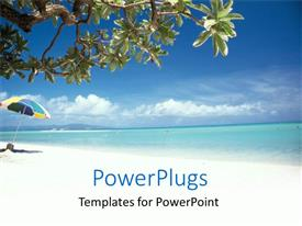 PowerPlugs: PowerPoint template with beach umbrella, tree, ocean, blue sky