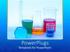 PowerPlugs: PowerPoint template with beakers and flasks variety of shapes holding colored liquids