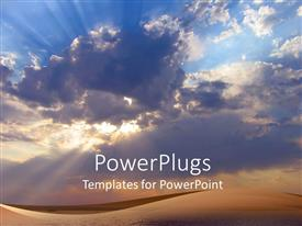 PowerPlugs: PowerPoint template with beam of sun penetrates through cloudy sky