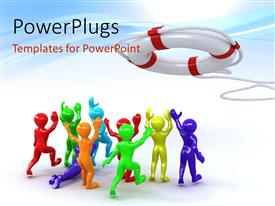 PowerPlugs: PowerPoint template with beautiful 3D depiction of group of people and lifebuoy