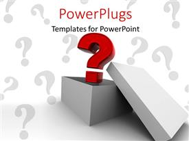 PowerPlugs: PowerPoint template with beautiful 3D question mark coming out of a box with question marks