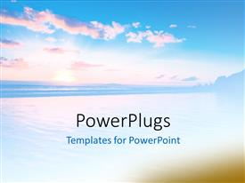 PowerPlugs: PowerPoint template with beautiful abstract sunset scene with cool blue effect