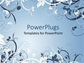 PowerPlugs: PowerPoint template with beautiful Abstract white and ash colored floral design on an ash colored background
