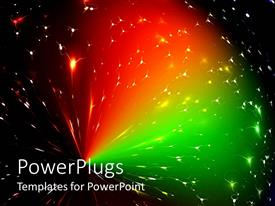 PowerPlugs: PowerPoint template with beautiful array of scattered multi colored green and red lights