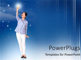 PowerPlugs: PowerPoint template with beautiful Asian-American woman holding sparkling email symbol