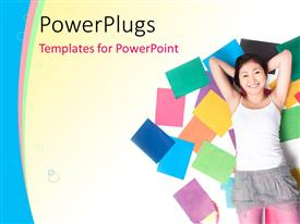 PowerPlugs: PowerPoint template with beautiful Asian lady laying on colored books on cool background