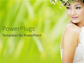 PowerPlugs: PowerPoint template with beautiful Asian woman in white dress with flower crown, bride, beauty, fashion, wedding
