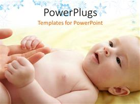 PowerPlugs: PowerPoint template with a beautiful baby with a celebration in the background