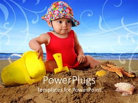 PowerPlugs: PowerPoint template with beautiful baby with colorful hat plays in beach sand with colorful toys
