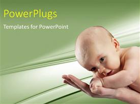 PowerPlugs: PowerPoint template with beautiful baby crawling on mother's hand with cool background