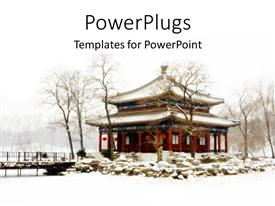 PowerPlugs: PowerPoint template with a beautiful background including a palace along with snow