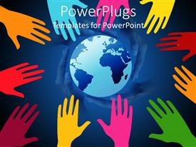 PowerPlugs: PowerPoint template with a beautiful background of various colored hands saving the Earth