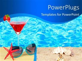 PowerPoint template displaying beautiful beach with cocktail, sunglasses and beach equipments