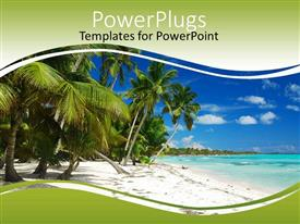 PowerPoint template displaying a beautiful beach with a lot of palm trees and ocean