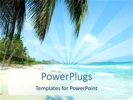 PowerPoint template displaying a beautiful beach with a number of palm trees