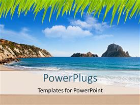 PowerPlugs: PowerPoint template with beautiful beach view with blue cloudy sky and mountains in distance